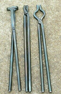 BLACKSMITH TONGS SET for forge hammer anvil and vise tools