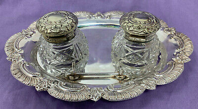 VTG PINDER BROS Brothers INKWELL WITH PEN HOLDER SILVER PLATED Crystal 181066