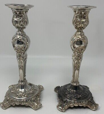 Antique Pair Wm Rogers & Son Silverplate Candle Sticks Victorian Rose (19-715)