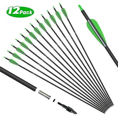 """12 Archery Carbon Hunting Target Arrows 30"""" spine 500 - Recurve & Compound Bows"""