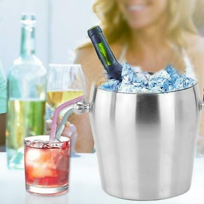 Stainless Steel Ice Bucket Portable Double Layer Thickened Ice Bucket for Party