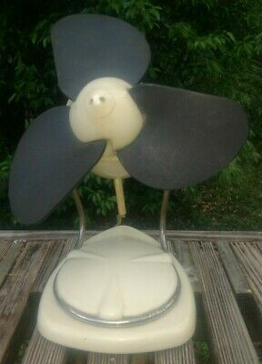 "Antique Small white Fan with plastic/rubber blades - as is not tested 11""x9"""