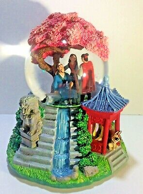 "Disney Snow Globe Music Box Mulan Tune Reflection 9""x7"" Limited Edition Vintage"