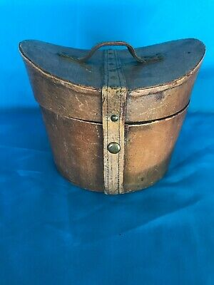 Antique Brown Leather Hat Box Nice