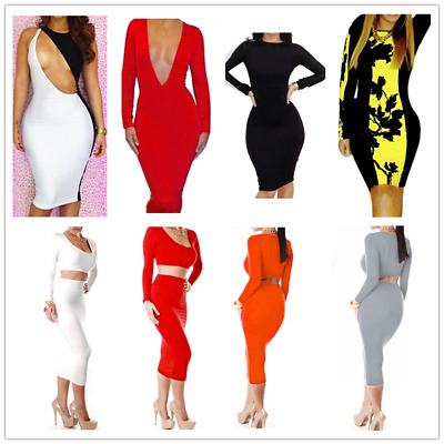 Women Evening Party Cocktail Club Bodycon Dress V Neck Long Sleeves Dress Skirt