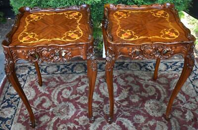 1910s Antique Pair of French Walnut & Satinwood floral Inlaid side End tables
