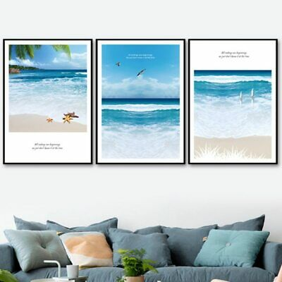 Blue Tan White Dock Seagull Ocean Coastal Wall Art Beach Art Matted Picture A340