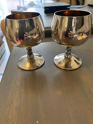2 Vintage Silver plated Valero EPB  Glasses Goblets Grape Leaves Stem Spain