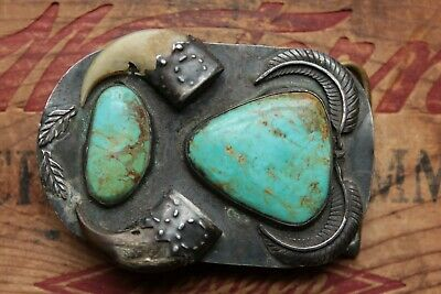 Vintage Hand Made Sterling Silver Turquoise Western Belt Buckle