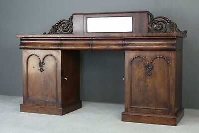 Antique Victorian Mahogany Twin Pedestal Sideboard Buffet Cabinet Dresser