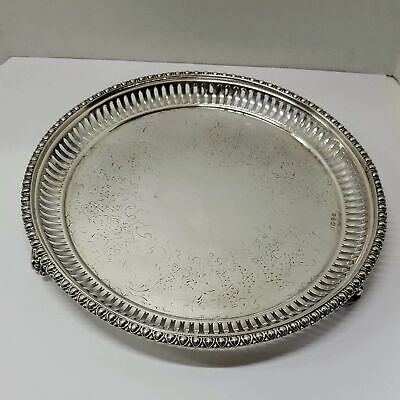 """Martin Hall Sheffield Silver Plate Footed Tray Re-Plated By Tiffany & Co. 8"""""""