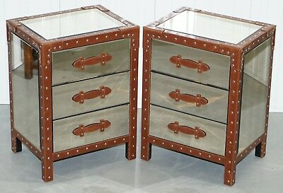 Pair Of New Venetian Glass Aluminium & Leather Bedside Lamp Wine Table Drawers
