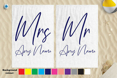 "58 x 39/"" Personalised Beach Towel Honeymoon Design Microfibre Wedding Champagne"