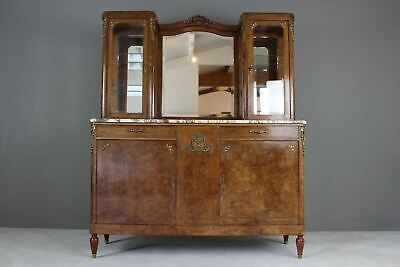Antique French Burr Walnut & Marble Vitrine Display Cabinet Sideboard Dresser