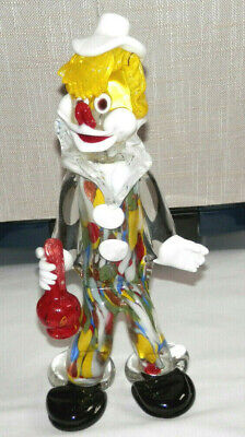 Vintage Murano Glass Hand Blown Art Glass Clown Figurne