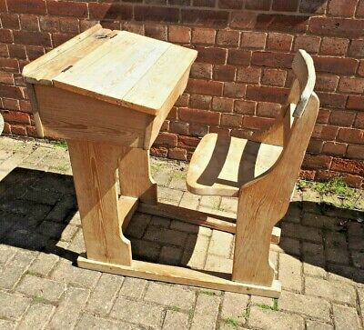 Victorian Pine School Desk & Integrated Chair - Refurbished in Good Condition