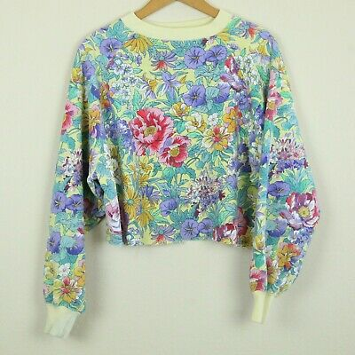 Vintage 90s Oversize Cropped Sweatshirt Pastel Yellow Floral All Over Print M