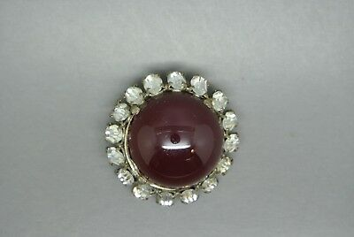 Vintage French red poured glass clear rhinestone signed depose brooch fur clip