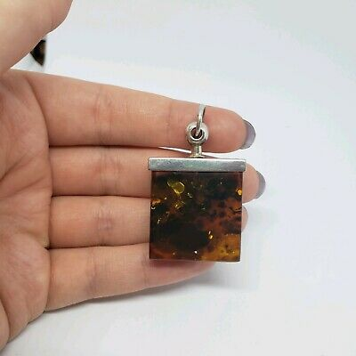 Vintage Modern sterling Silver 925 Funky Chunk Raw Natural Amber Square pendant