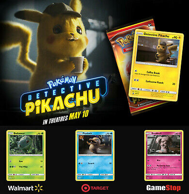 COMPLETE SET Pokemon Detective Pikachu Movie Promo Snubbull Psyduck Bulbasaur