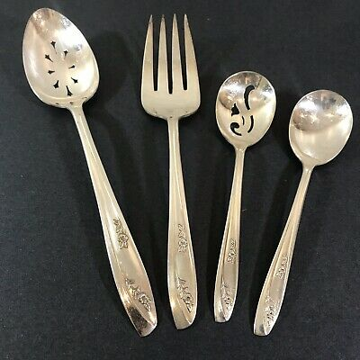 1957 Wm Rogers Lady Fair 4 Pieces Silver Plate Serving Spoons Fork Sugar Slotted