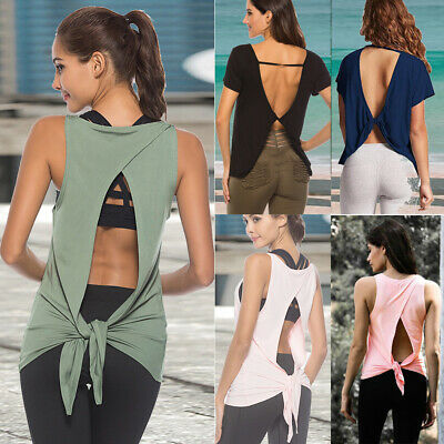 UK Women Open Back Tank Tops Gym Yoga Sports Fitness T-Shirt Ladies Casual Vest