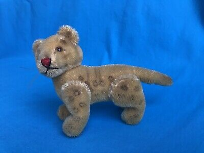 Vintage Steiff Cat Kitten Leopard Cub Stuffed Animal Mohair Jointed no ID 4.5""