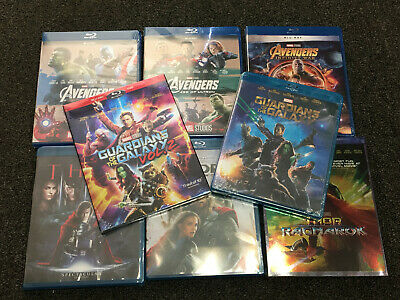 8 Marvel Blue Ray lot Avengers 123 Thor 123 Guardians of the Galaxy 1 2 Bundle