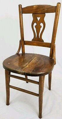 Vintage Harp Lyre Back Oak Wood Dining Chair Arts & Crafts Antique