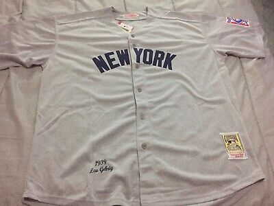 Retro NY Yankees Legend Lou Gehrig #4 Throwback Baseball Jersey Mens XXXL Sz 56