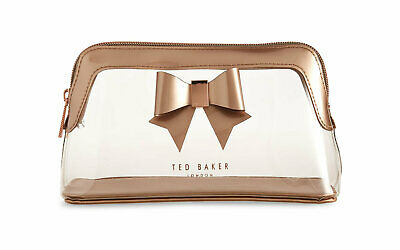 1348cfcd04 NWT $55 TED BAKER Gemi Clear Bow Wash Bag Beauty Makeup Cosmetic Case Bronze