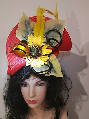 Fascinator hatinator hat races wedding costume formal red  - one off design
