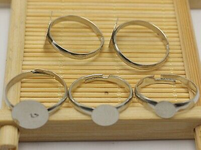 25Pcs Silver Tone Metal Adjustable Ring With Blank Glue On Pad 6mm 8mm 10mm 12mm