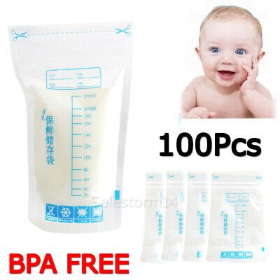 100X Breast Milk Storage Bag Seal Pouch Baby Food Container Leakproof 250ml NEW