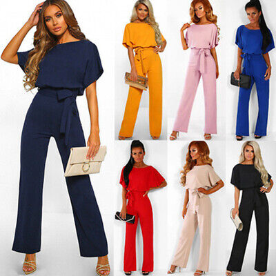 2019 Fashoin Womens High Waist Lace Up Jumpsuit Wide Leg Romper Outfit