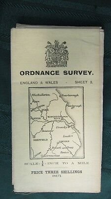 Vintage 1914 Ordnance Survey England & Wales Map, 1/4 inch to A Mile, Sheet #3