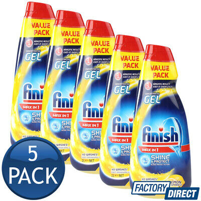 5x FINISH DISHWASHING CONCENTRATED GEL MAX IN 1 SHINE & PROTECT LEMON SPARKLE 1L