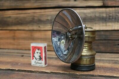 Vintage BUTTERFLY Miner's Mining Reflecting Helmet Lamp Light Carbide Brass