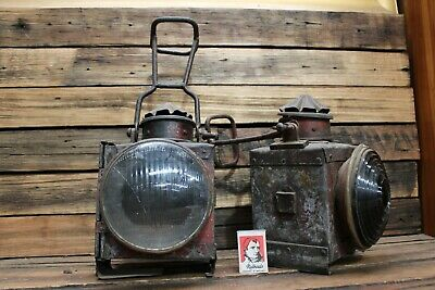 Pair Railway Lantern Light Guards Carriage Victorian SA Train Glass