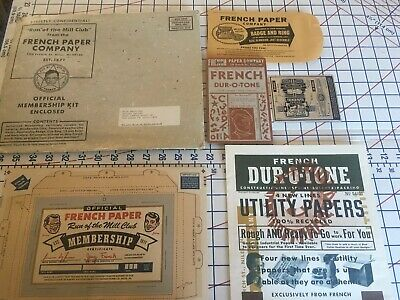 French Paper Co.  Collectible Lot. Vintage Art Deco. Members Badge & Ring. Rare!