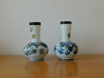 c.19th - Antique French France Opalescent Glass Pair of Vases - Hand Painted
