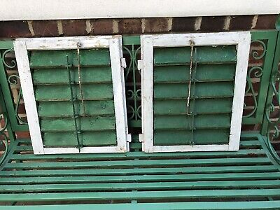 Pair Vintage Antique French Window Shutters Wooden Flaky Paint Display Rustic