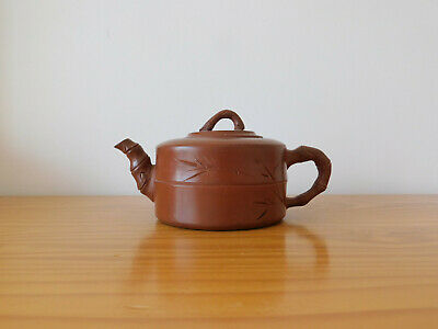 c.19th - Antique Chinese Yixing Terracotta Bamboo Style Tea Pot