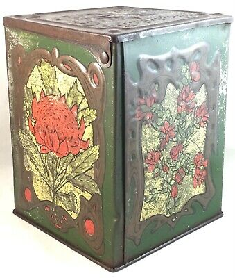 Vintage Griffiths Tea Melbourne Australian Hinged Lid Tin Antique