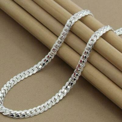 5mm Mens Womens Stainless Steel Silver Twist Curb Link Chain Necklace Fast B9S2