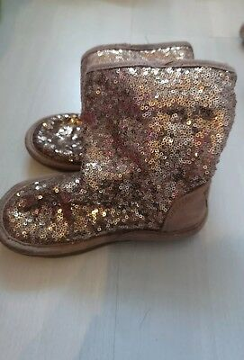 Girls infant size 7. Next Dusky Pink Faux Suede Sequin Slip On Winter Boots.
