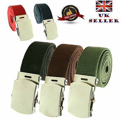 New Unisex 30mm Fashion Fabric Cotton Canvas Military Curved Plain Buckle Belt