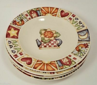 Gibson Everyday China Dishes 4 Soup Cereal Bowl Country Quilt Pattern