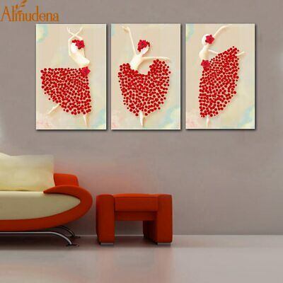 Almudena® 3Pc//Set Fashion Unframed White Rose Flower Picture On Canvas