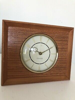 Vintage Retro Columbia Wooden Mantle Wind Up Clock Made in Scotland